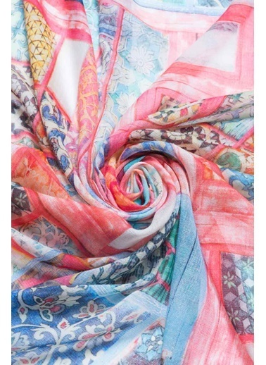 Silk and Cashmere İpek Karişimli Jas Patch Şal 70X180 Cm Mor